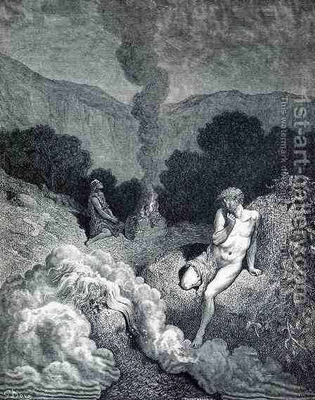 Cain and Abel Offering their Sacrifices by Gustave Dore - Reproduction Oil Painting