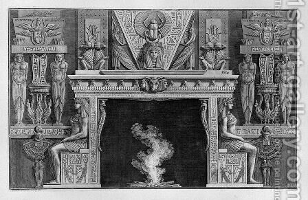Fireplace Egyptian style, the sides two seated figures in profile, facing outwards by Giovanni Battista Piranesi - Reproduction Oil Painting