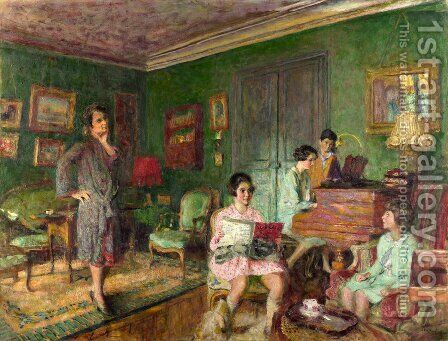 Madame Andre Wormser and her Children by Edouard  (Jean-Edouard) Vuillard - Reproduction Oil Painting