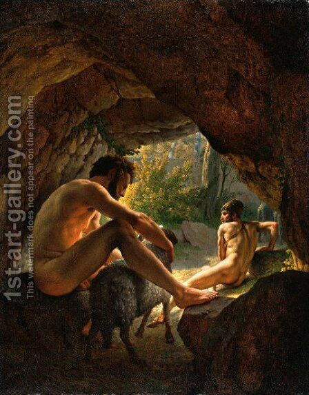 Ulysses Fleeing The Cave Of Polyphemus by Christoffer Wilhelm Eckersberg - Reproduction Oil Painting