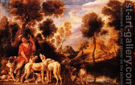 Hunter with his dogs by Jacob Jordaens - Reproduction Oil Painting