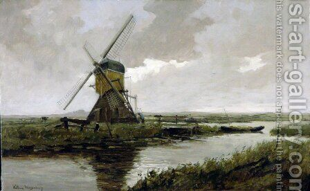 Landscape with a mill by Jan Hendrik Weissenbruch - Reproduction Oil Painting