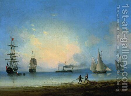 Russian and French frigates by Ivan Konstantinovich Aivazovsky - Reproduction Oil Painting