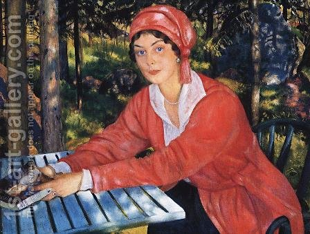 Portrait of Countess Grabowska by Boris Kustodiev - Reproduction Oil Painting