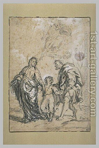 The Infant Jesus, between the Virgin and St. Joseph 2 by Bartolome Esteban Murillo - Reproduction Oil Painting