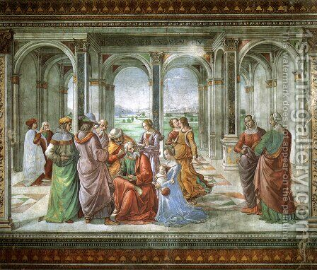 Zacharias Writes Down the Name of His Son 2 by Domenico Ghirlandaio - Reproduction Oil Painting