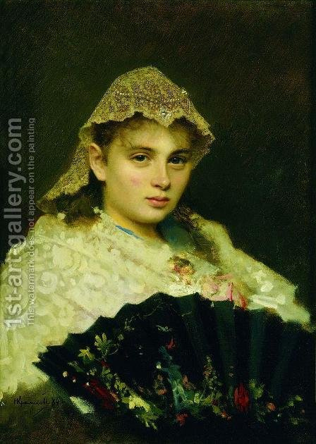 Portrait of Olga Afanasiyevna Raftopulo by Ivan Nikolaevich Kramskoy - Reproduction Oil Painting