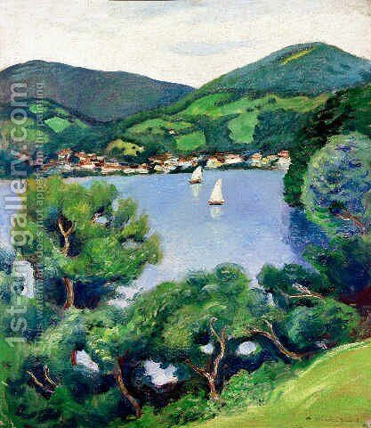 View of Tegernsee by August Macke - Reproduction Oil Painting