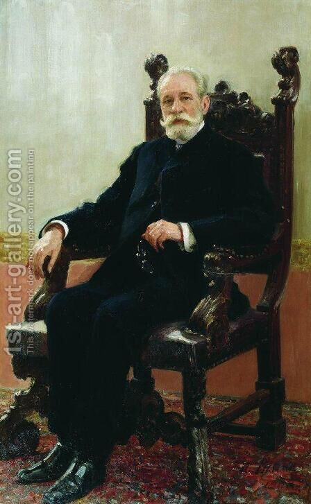 Portrait of the Chairman of the Azov-Don Commercial Bank in St. Petersburg, A.B. Nenttsel by Ilya Efimovich Efimovich Repin - Reproduction Oil Painting