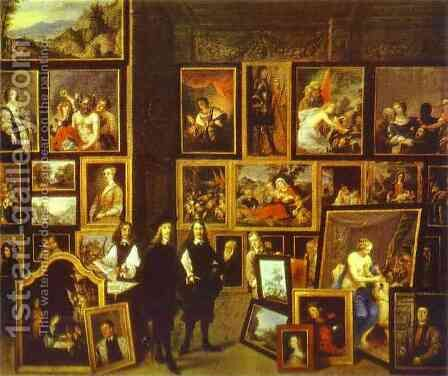 Archduke Leopold Wilhelm in his Picture Gallery, with the artist and other figures by David The Younger Teniers - Reproduction Oil Painting