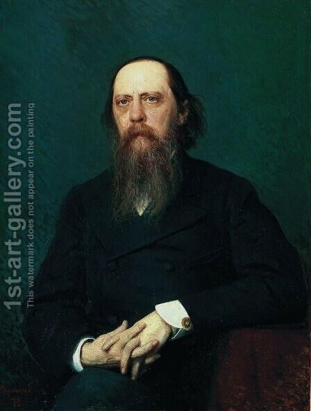 Portrait of the writer Mikhail Evgrafovich Saltykov  (N. Shchedrin) by Ivan Nikolaevich Kramskoy - Reproduction Oil Painting