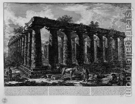 View of a colonnade forming a quadrilateral by Giovanni Battista Piranesi - Reproduction Oil Painting