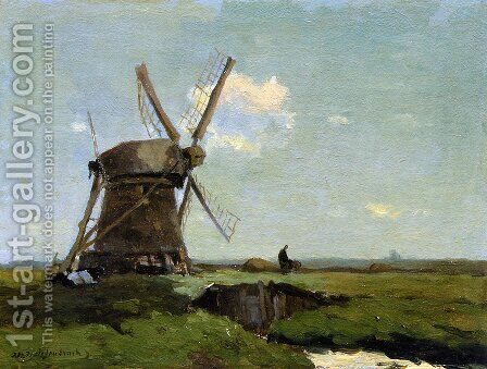 Mill in landscape by Jan Hendrik Weissenbruch - Reproduction Oil Painting