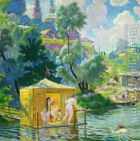 Bathing 2 by Boris Kustodiev - Reproduction Oil Painting