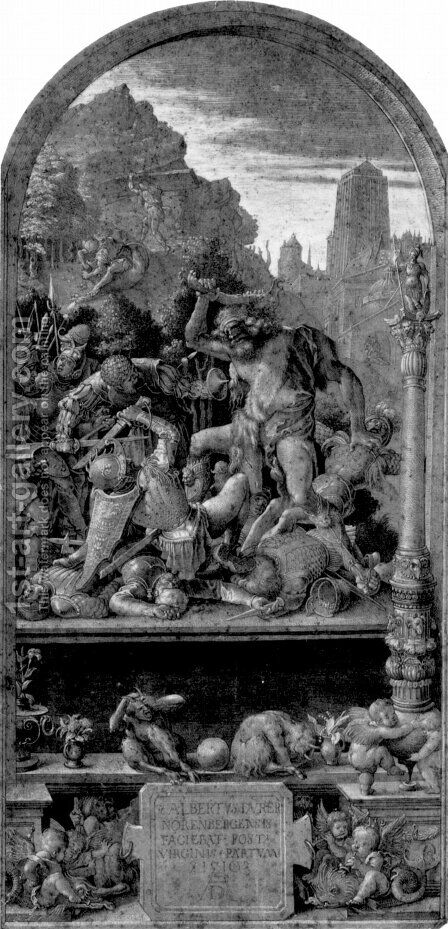 Design for the Fugger Chapel in Augsburg Samson fighting the Philistines by Albrecht Durer - Reproduction Oil Painting