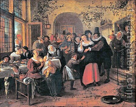 Peasant Wedding by Jan Steen - Reproduction Oil Painting