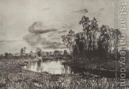 Gray day. River. by Isaak Ilyich Levitan - Reproduction Oil Painting