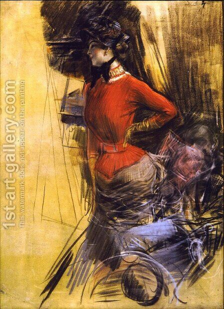 Lady in Red Coat by Giovanni Boldini - Reproduction Oil Painting