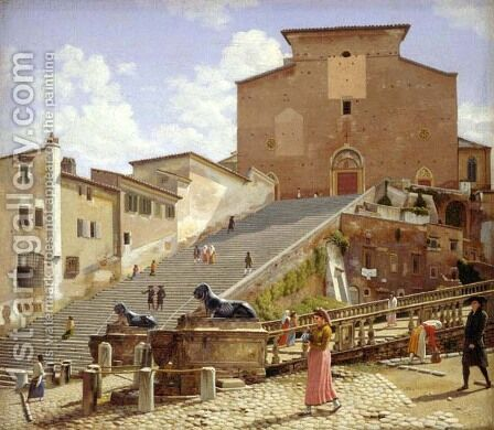 The marble staircase which leads up to S. Maria in Aracoeli in Rome by Christoffer Wilhelm Eckersberg - Reproduction Oil Painting