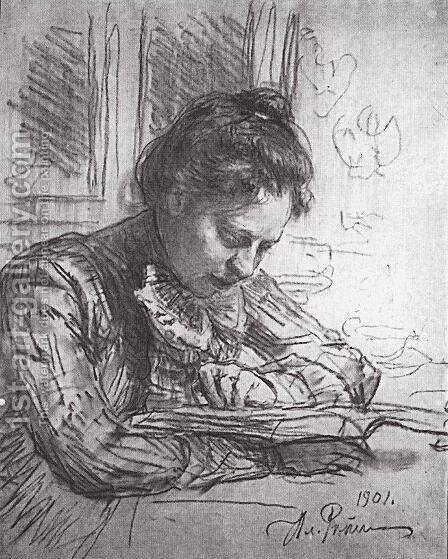 Reading (Portrait of Natalia B. Nordman) by Ilya Efimovich Efimovich Repin - Reproduction Oil Painting