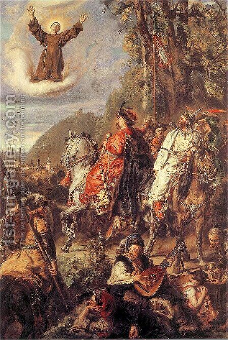 Bohdan Khmelnytsky with Tugai Bey near Lviv by Jan Matejko - Reproduction Oil Painting