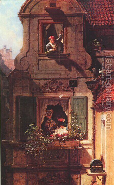 The Intercepted Love Letter by Carl Spitzweg - Reproduction Oil Painting