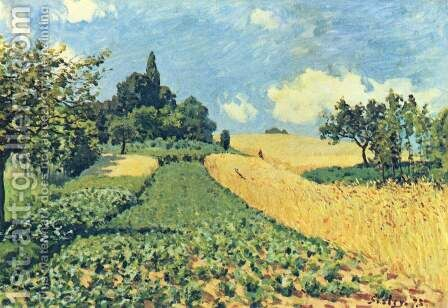 Grain fields on the hills of Argenteuil by Alfred Sisley - Reproduction Oil Painting