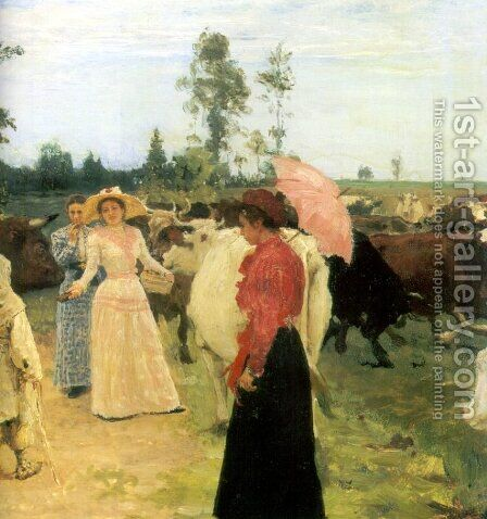 Young ladys walk among herd of cow (detail) by Ilya Efimovich Efimovich Repin - Reproduction Oil Painting