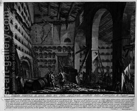 The Roman antiquities, t. 2, Plate XLII. Interior view of one of the three rooms before burial. by Giovanni Battista Piranesi - Reproduction Oil Painting