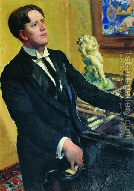 Portrait of the Composer D.V. Morozov by Boris Kustodiev - Reproduction Oil Painting