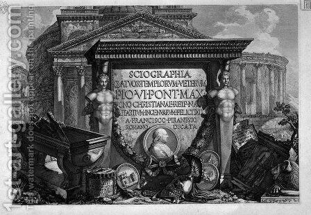 Title page with a dedication to Pope Pius VI by Giovanni Battista Piranesi - Reproduction Oil Painting