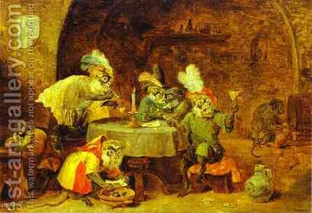 Smokers and Drinkers by David The Younger Teniers - Reproduction Oil Painting
