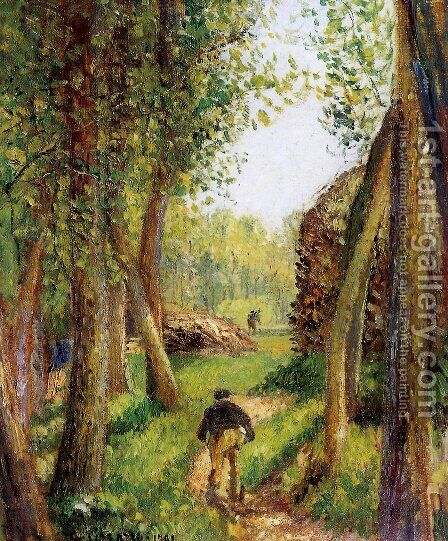 Forest scene with two figures by Camille Pissarro - Reproduction Oil Painting