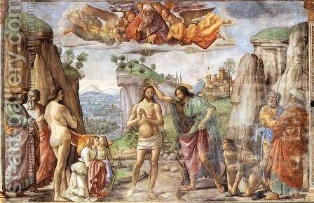 Baptism of Christ by Domenico Ghirlandaio - Reproduction Oil Painting