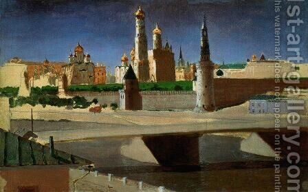 View of the Kremlin from the Zamoskvorechye District by Arkhip Ivanovich Kuindzhi - Reproduction Oil Painting