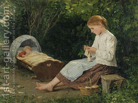 Knitting Girl Watching the Toddler in a Craddle by Albert Anker - Reproduction Oil Painting