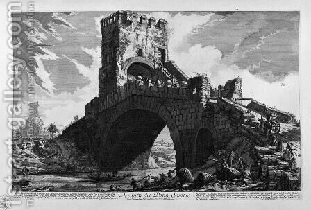 View of the Tiber on the Ponte Molle, two miles away from Rome by Giovanni Battista Piranesi - Reproduction Oil Painting