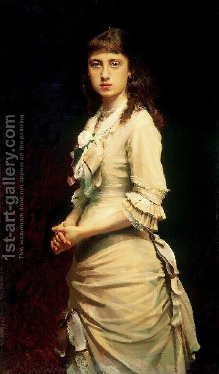 Portrait of Sophia Ivanovna Kramskoy, daughter of the artist by Ivan Nikolaevich Kramskoy - Reproduction Oil Painting