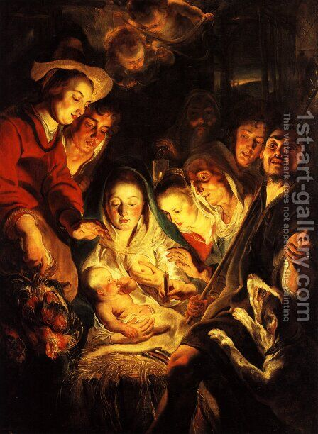 Adoration of the Shepherds 2 by Jacob Jordaens - Reproduction Oil Painting