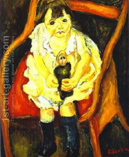 Little Girl with Doll by Chaim Soutine - Reproduction Oil Painting