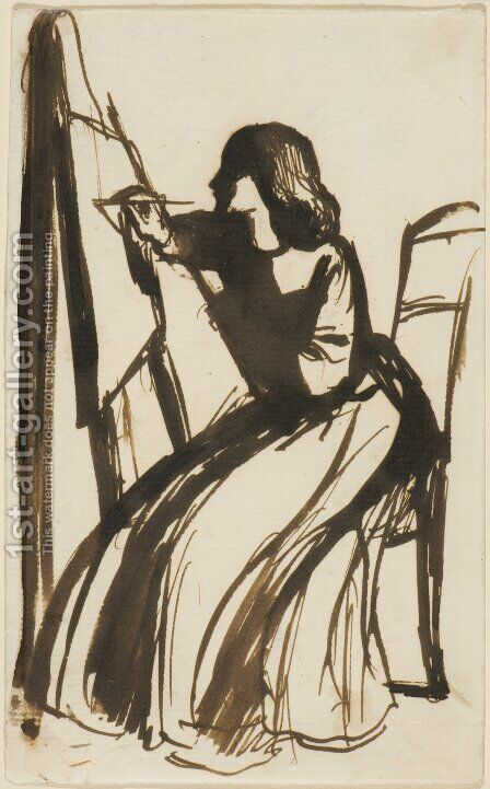Elizabeth Siddal Seated at an Easel by Dante Gabriel Rossetti - Reproduction Oil Painting