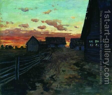 Huts after sunset by Isaak Ilyich Levitan - Reproduction Oil Painting