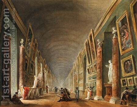 The Grande Galerie by Hubert Robert - Reproduction Oil Painting