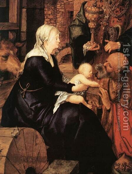 Adoration(fragment) 2 by Albrecht Durer - Reproduction Oil Painting