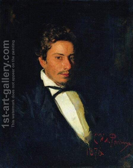 Portrait of V. Repin, musician, brother of the artist by Ilya Efimovich Efimovich Repin - Reproduction Oil Painting