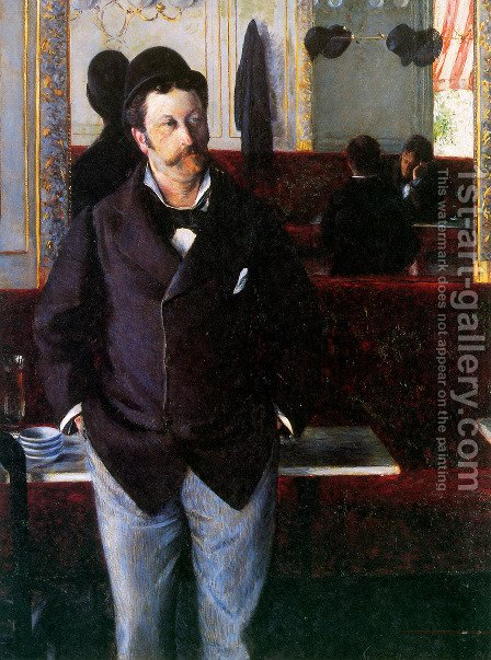 At the Cafe, Rouen by Gustave Caillebotte - Reproduction Oil Painting