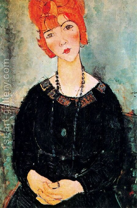 Woman With a Necklace by Amedeo Modigliani - Reproduction Oil Painting