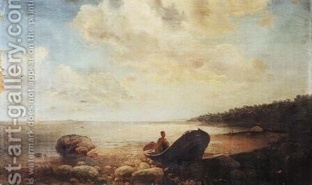 Landscape with boat by Alexei Kondratyevich Savrasov - Reproduction Oil Painting