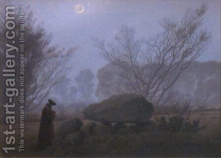 A Walk at Dusk 2 by Caspar David Friedrich - Reproduction Oil Painting