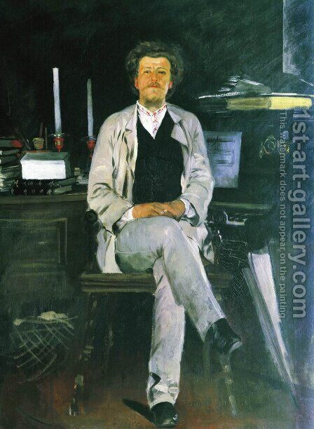 Portrait of I. F. Tyumenev by Andrei Petrovich Ryabushkin - Reproduction Oil Painting